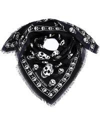 Alexander McQueen All Over Skull Print Scarf - Black