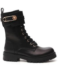 Versace Medusa Safety Pin Buckle Combat Boots - Black