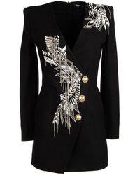 Balmain Embellished Blazer Dress - Black