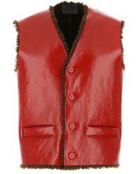 Prada Tiziano Red Nappa Leather Vest Nd Uomo