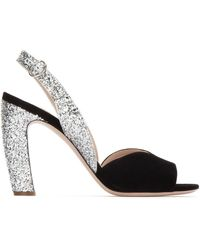 Miu Miu Glitter Sandals Black/silver - Metallic