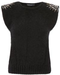 Alberta Ferretti - Embellished Shoulder Knitted Top - Lyst