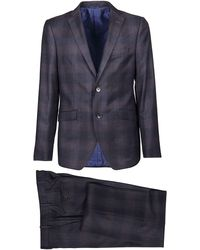 Etro Checked Single Breasted Two-piece Suit - Blue
