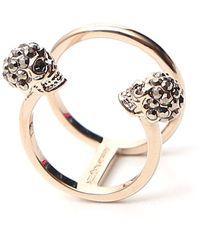 Alexander McQueen Double Skull Ring - Metallic