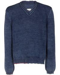 Maison Margiela Slit Detailed Knit Jumper - Blue