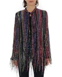 Amen Bead Fringed Pussybow Blouse - Multicolour