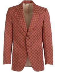 Gucci GG Logo Blazer - Red