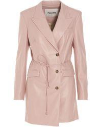 Nanushka Remi Vegan Leather Blazer Dress - Pink