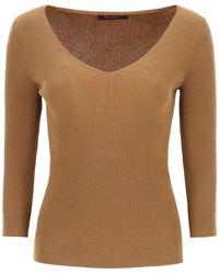 Max Mara Studio V-neck Rib-knit Jumper - Brown