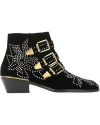 Chloé Susanna Leather Studded Boots/booties - Black