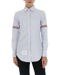 Thom Browne 4-bar Striped Shirt - Blue