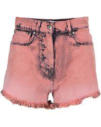 MSGM Delave Denim Shorts - Pink