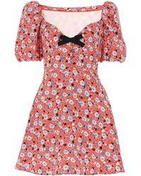Miu Miu Floral Printed Bow Detail Mini Dress - Red