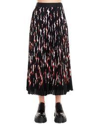 Prada Pleated Printed Satin Midi Skirt - Black