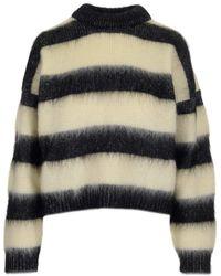 Saint Laurent Striped Knitted Jumper - Multicolour