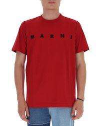 Marni Logo Printed T-shirt - Red