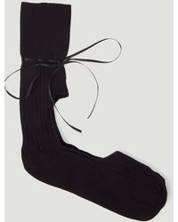 Simone Rocha Ankle High Cut Out Ribbon Socks - Black