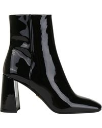 Prada 85mm Patent Leather Ankle Boots - Black