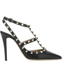 Valentino Garavani Rockstud Slingback Ankle Strap Court Shoes - Black