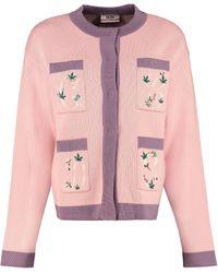 Gcds Wool Blend Cardigan - Pink