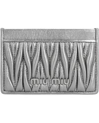 Miu Miu Matelassé Cardholder - Metallic
