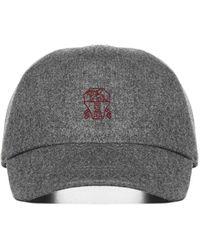 Brunello Cucinelli Logo Wool Baseball Cap - Gray