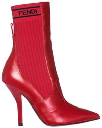 Fendi - Leather Heel Ankle Boots Booties - Lyst