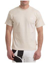 Gcds Men's Short Sleeve T-shirt Crew Neckline Jumper - Natural