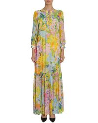 Boutique Moschino Flower Printed Long Georgette Dress - Multicolour