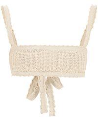 Alanui Cotton Knit Bralette Top M Cotton - Natural