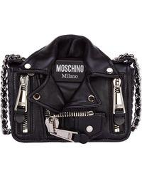 Moschino Leather Cross-body Messenger Shoulder Bag Biker - Black
