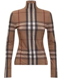 Burberry Check-printed Slim Fit Knitted Top - Brown