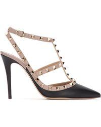 Valentino Garavani Rockstud Caged 100 Leather Ankle Strap Pump - Black