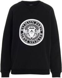 Balmain Flocked Medallion Sweatshirt - Black