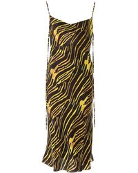 Marine Serre Zebra Print Long Dress S Cotton - Black