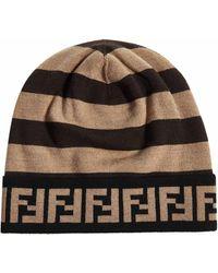 Fendi Ff Motif Beanie - Brown