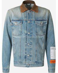 Heron Preston Contrast Collar Denim Jacket - Blue