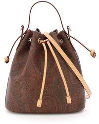 Etro Book Classic Paisley Bucket Bag - Brown