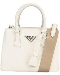 Prada Galleria Micro Top Handle Bag - White