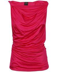 Pinko Gathered Asymmetric Neckline Top - Pink