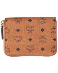 MCM Visetos Zip-around Wallet - Brown