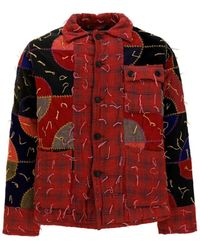 Bode Patchwork Overshirt - Red