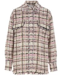 MSGM Tweed Buttoned Shirt Jacket - Multicolour