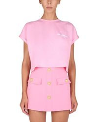 Balmain Cropped T-shirt With Flocked Logo - Pink