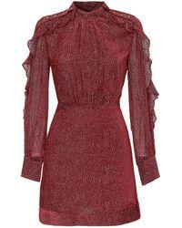 Pinko Ruffled Sleeve Mini Dress - Red