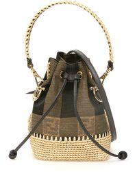 Fendi Mini Mon Tresor Ff Jacquard Motif Bucket Bag - Multicolor