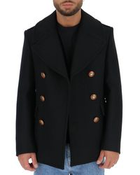 Givenchy Double Breasted Blazon Button Peacoat - Black