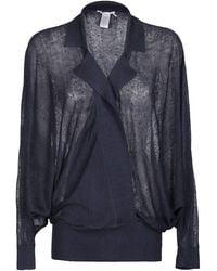 Agnona Sheer Wrap Knit Top - Blue
