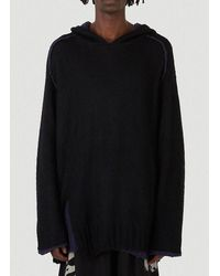 Yohji Yamamoto Oversized Knitted Hoodie - Black