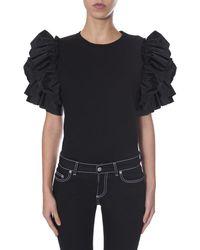 Alexander McQueen Ruffle Sleeves Blouse - Black